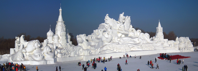 This was the signature snow sculpture at the 2012 Harbin Snow Sculpture Competition.